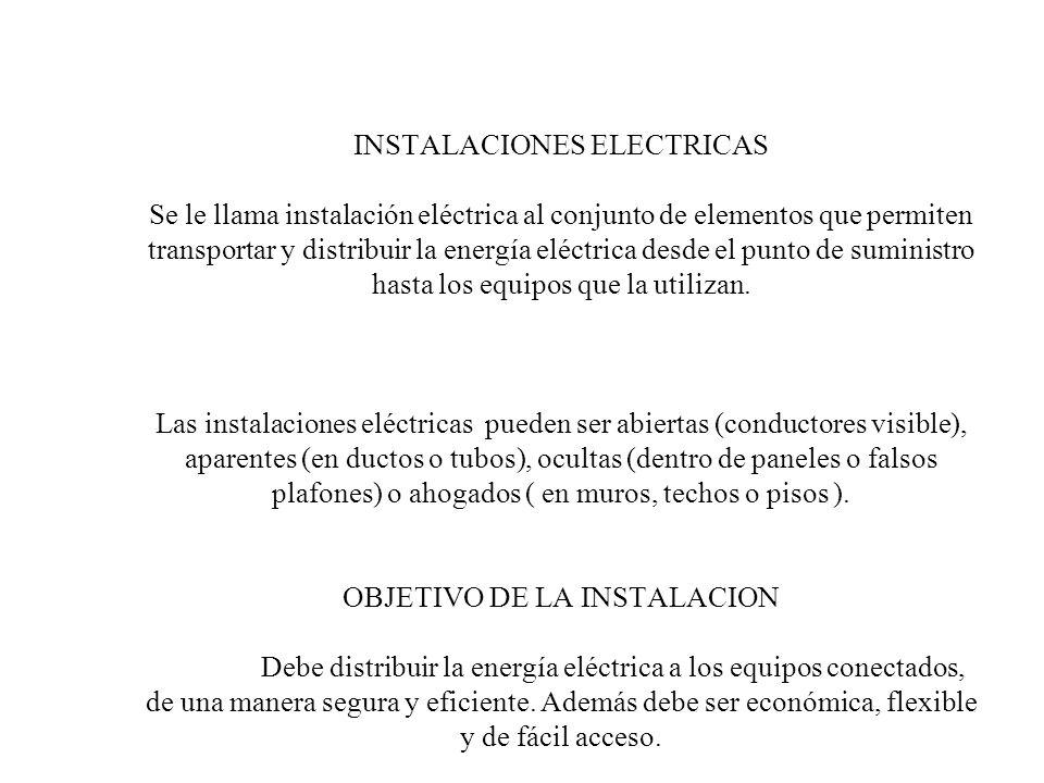 INSTALACIONES ELECTRICAS Se le llama instalación eléctrica al conjunto de elementos que permiten transportar y distribuir la energía eléctrica desde el punto de suministro hasta los equipos que la utilizan.