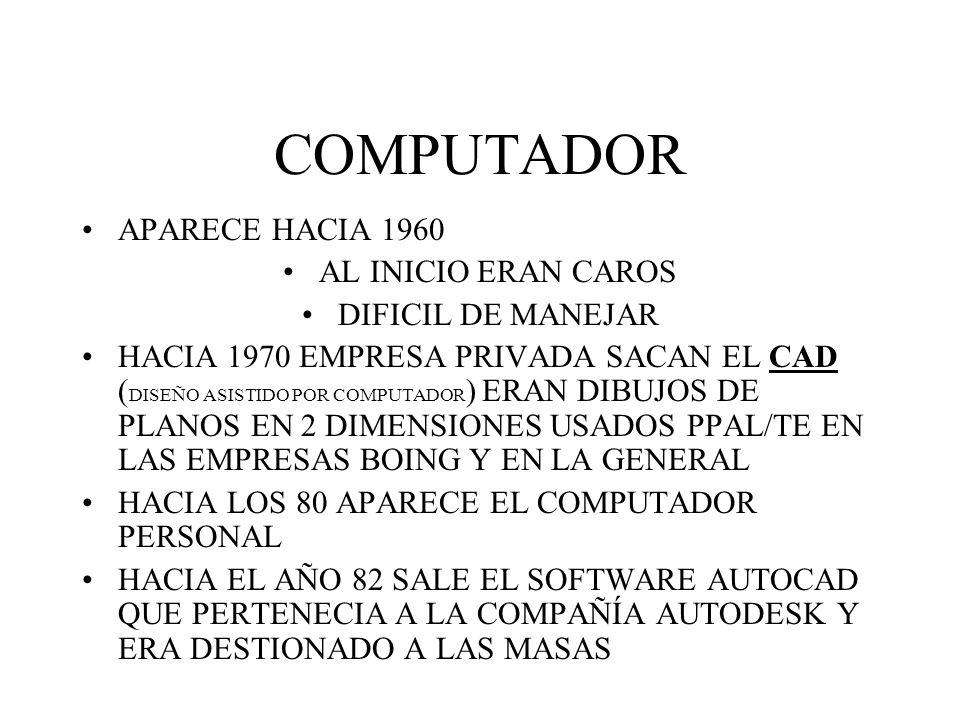 COMPUTADOR APARECE HACIA 1960 AL INICIO ERAN CAROS DIFICIL DE MANEJAR