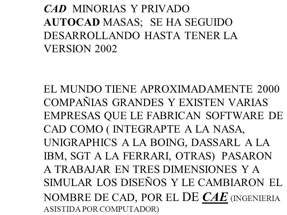 CAD MINORIAS Y PRIVADO AUTOCAD MASAS; SE HA SEGUIDO DESARROLLANDO HASTA TENER LA VERSION 2002 EL MUNDO TIENE APROXIMADAMENTE 2000 COMPAÑIAS GRANDES Y EXISTEN VARIAS EMPRESAS QUE LE FABRICAN SOFTWARE DE CAD COMO ( INTEGRAPTE A LA NASA, UNIGRAPHICS A LA BOING, DASSARL A LA IBM, SGT A LA FERRARI, OTRAS) PASARON A TRABAJAR EN TRES DIMENSIONES Y A SIMULAR LOS DISEÑOS Y LE CAMBIARON EL NOMBRE DE CAD, POR EL DE CAE (INGENIERIA ASISTIDA POR COMPUTADOR)