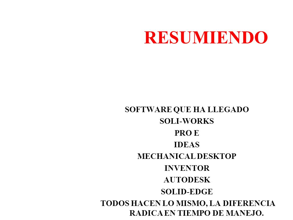 RESUMIENDO SOFTWARE QUE HA LLEGADO SOLI-WORKS PRO E IDEAS