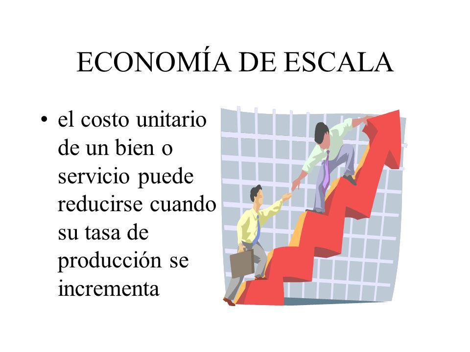 ECONOMÍA DE ESCALA el costo unitario de un bien o servicio puede reducirse cuando su tasa de producción se incrementa.