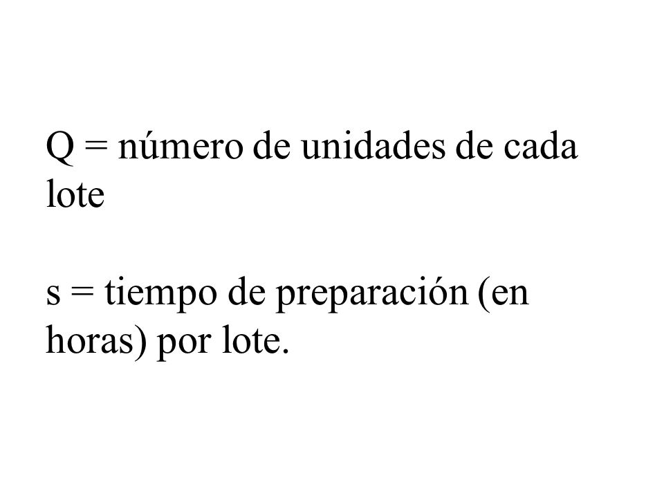 Q = número de unidades de cada lote s = tiempo de preparación (en horas) por lote.