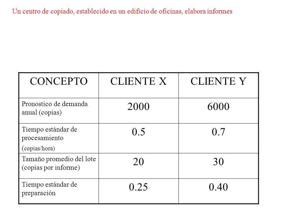 CONCEPTO CLIENTE X CLIENTE Y 2000 6000 0.5 0.7 20 30 0.25 0.40