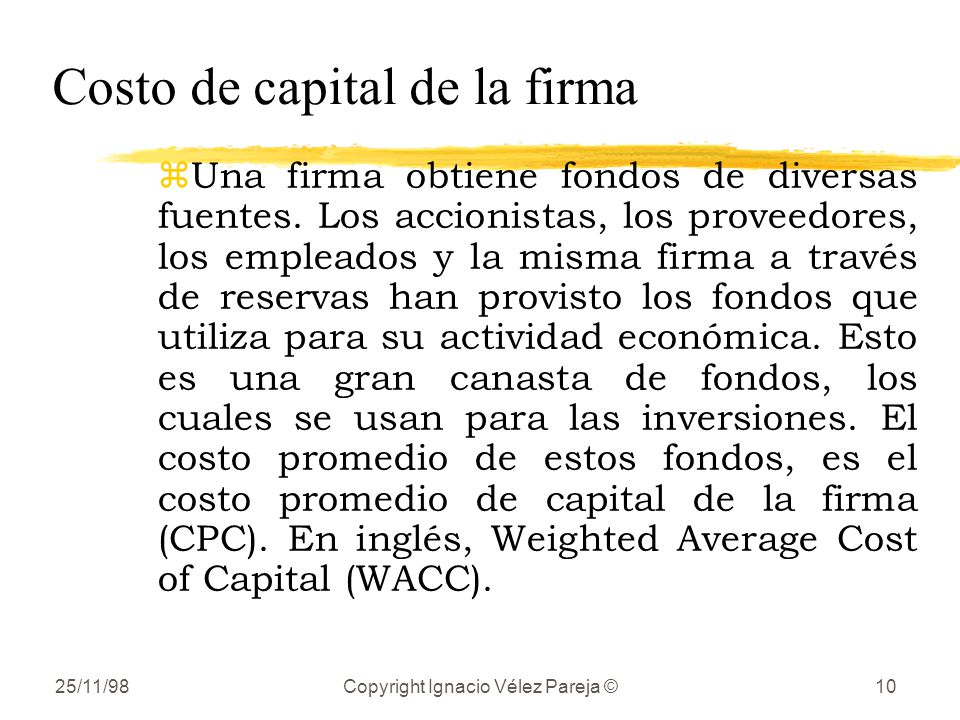 Costo de capital de la firma