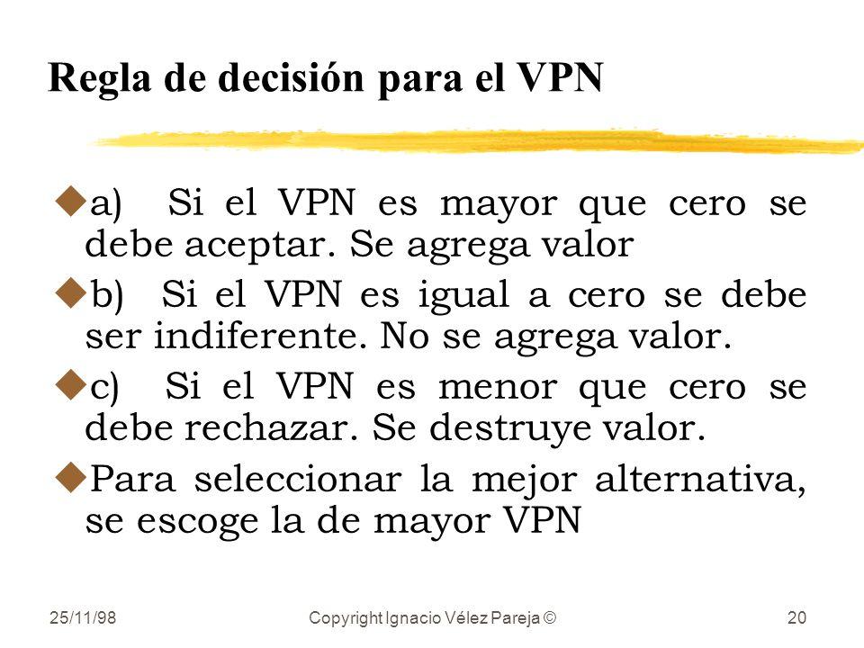 Regla de decisión para el VPN
