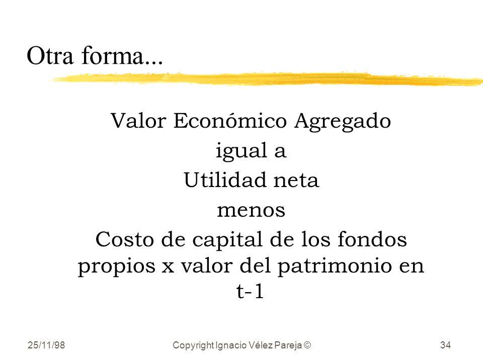 Otra forma... Valor Económico Agregado igual a Utilidad neta menos