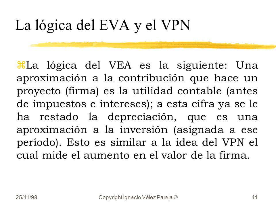 La lógica del EVA y el VPN