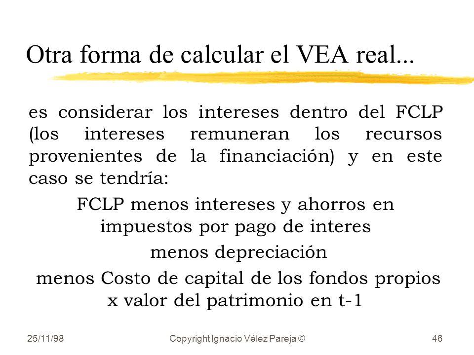 Otra forma de calcular el VEA real...