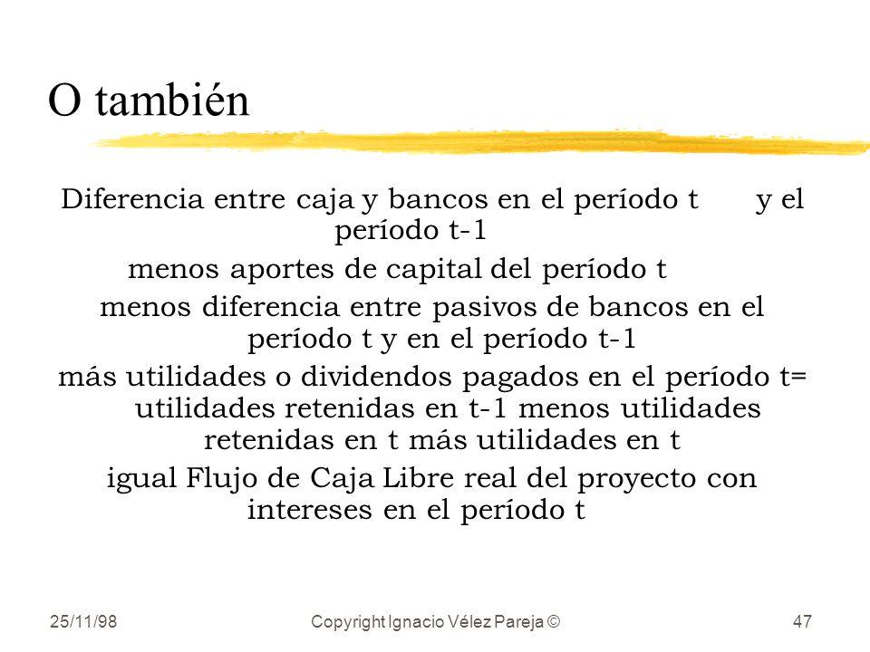 O también Diferencia entre caja y bancos en el período t y el período t-1. menos aportes de capital del período t.