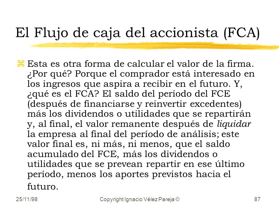 El Flujo de caja del accionista (FCA)
