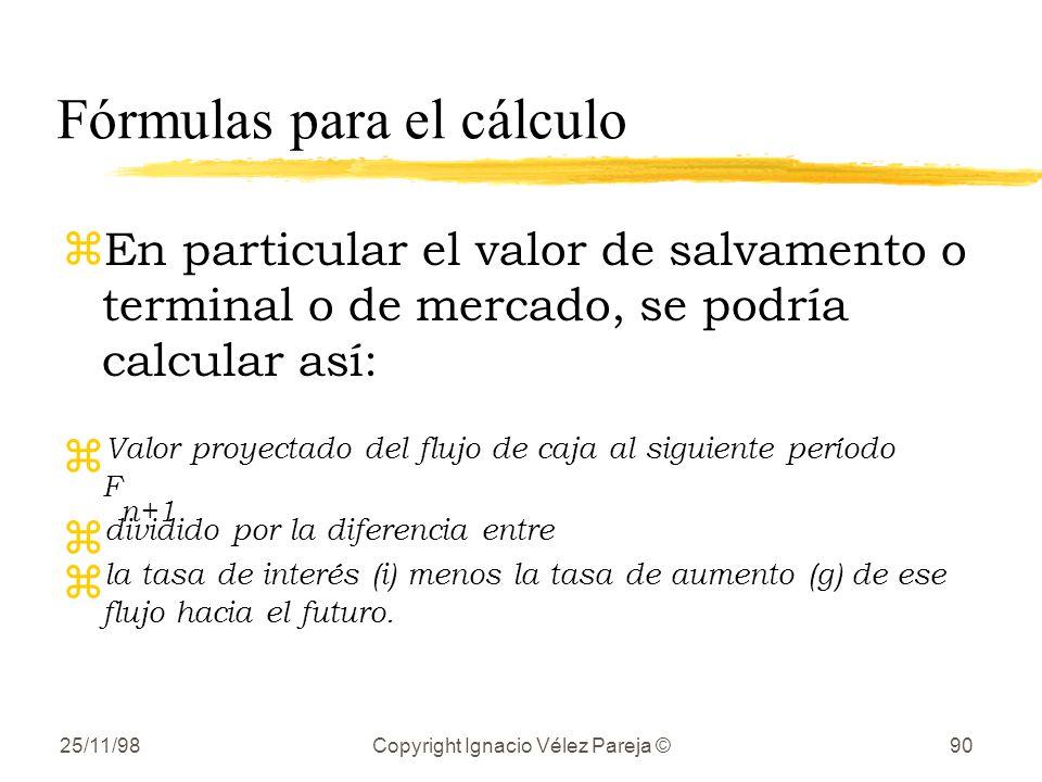 Fórmulas para el cálculo