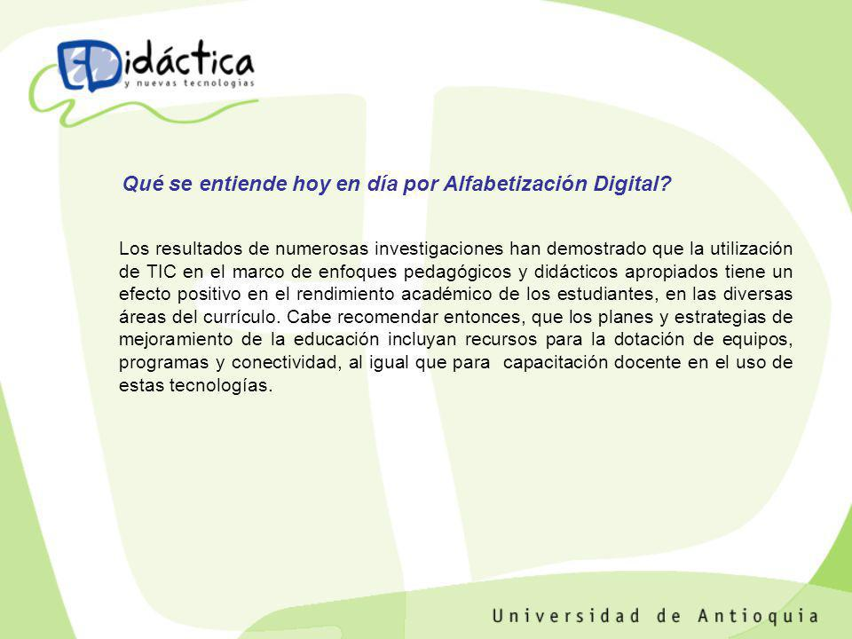 Qué se entiende hoy en día por Alfabetización Digital