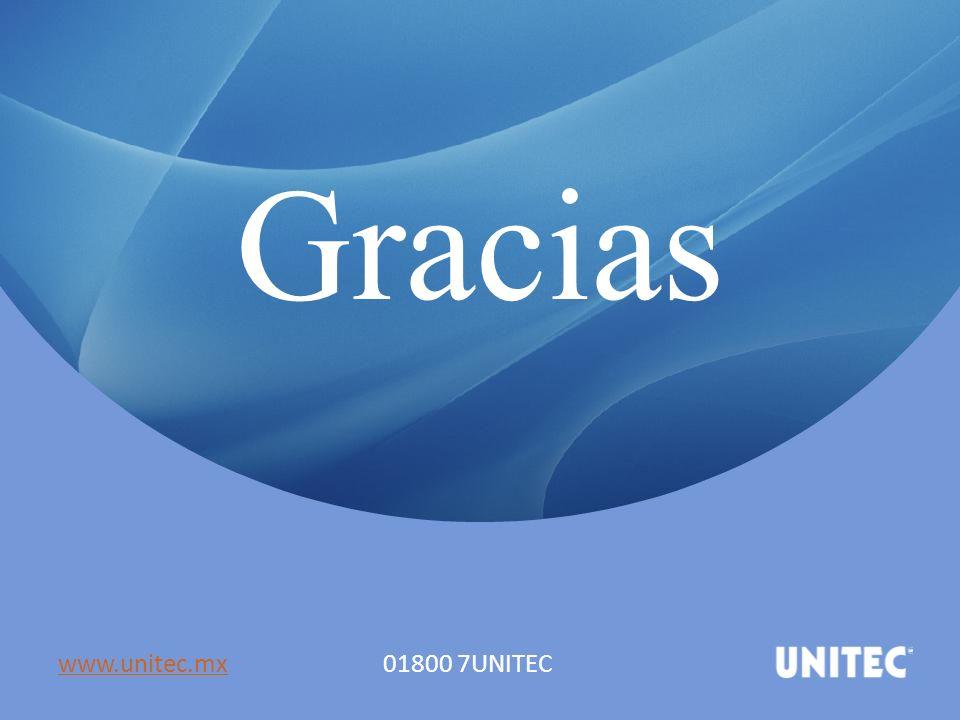 Gracias www.unitec.mx 01800 7UNITEC