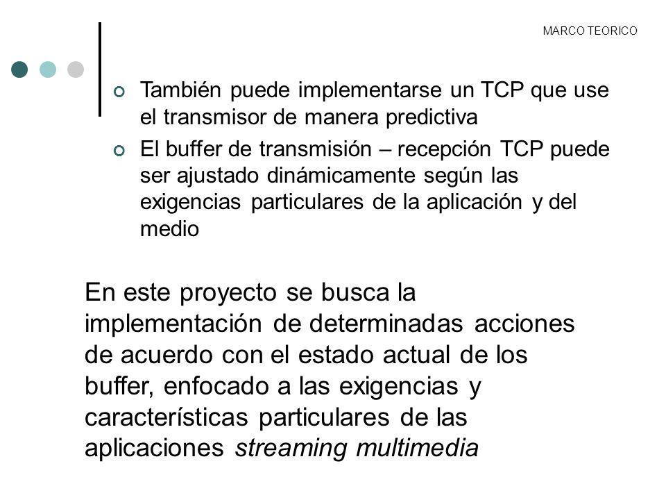 MARCO TEORICO También puede implementarse un TCP que use el transmisor de manera predictiva.
