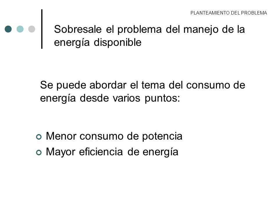 Sobresale el problema del manejo de la energía disponible