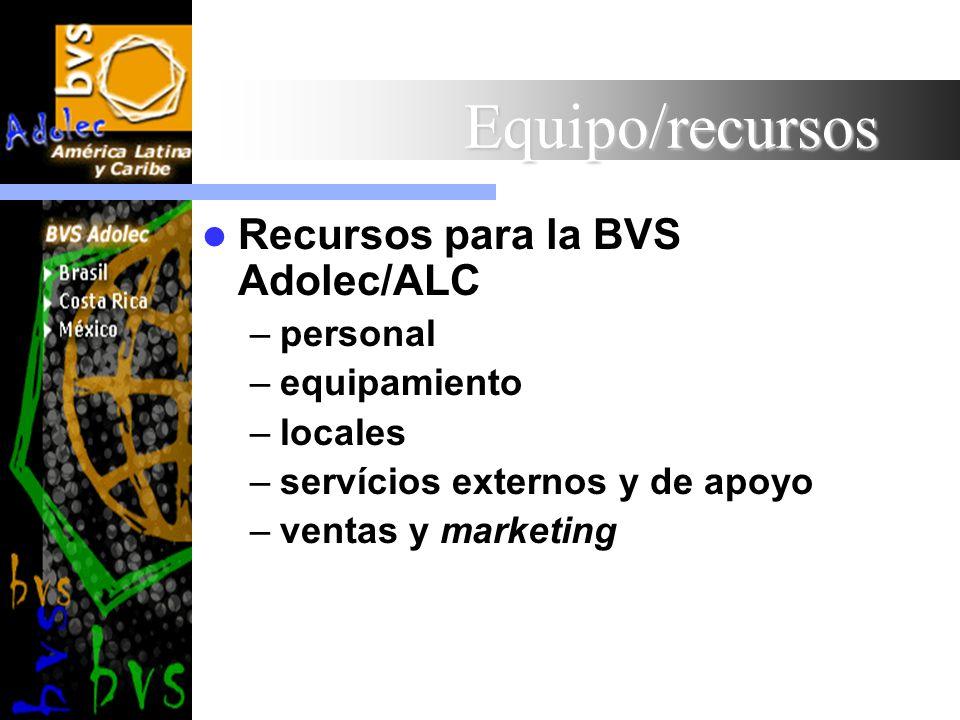 Equipo/recursos Recursos para la BVS Adolec/ALC personal equipamiento