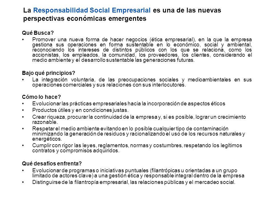 La Responsabilidad Social Empresarial es una de las nuevas perspectivas económicas emergentes