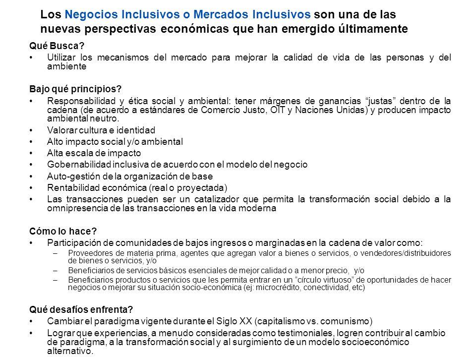 Los Negocios Inclusivos o Mercados Inclusivos son una de las nuevas perspectivas económicas que han emergido últimamente