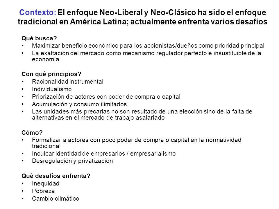 Contexto: El enfoque Neo-Liberal y Neo-Clásico ha sido el enfoque tradicional en América Latina; actualmente enfrenta varios desafíos
