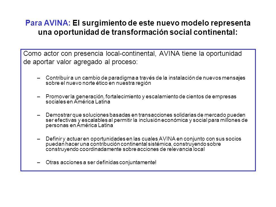 Para AVINA: El surgimiento de este nuevo modelo representa una oportunidad de transformación social continental: