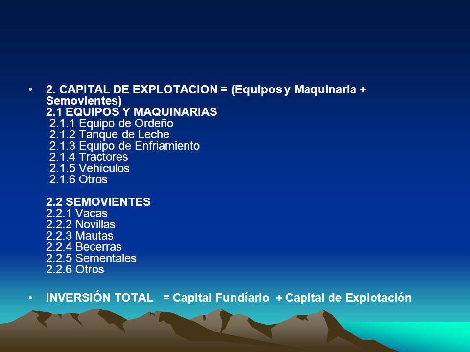 2. CAPITAL DE EXPLOTACION = (Equipos y Maquinaria + Semovientes) 2