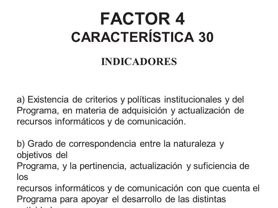 FACTOR 4 CARACTERÍSTICA 30