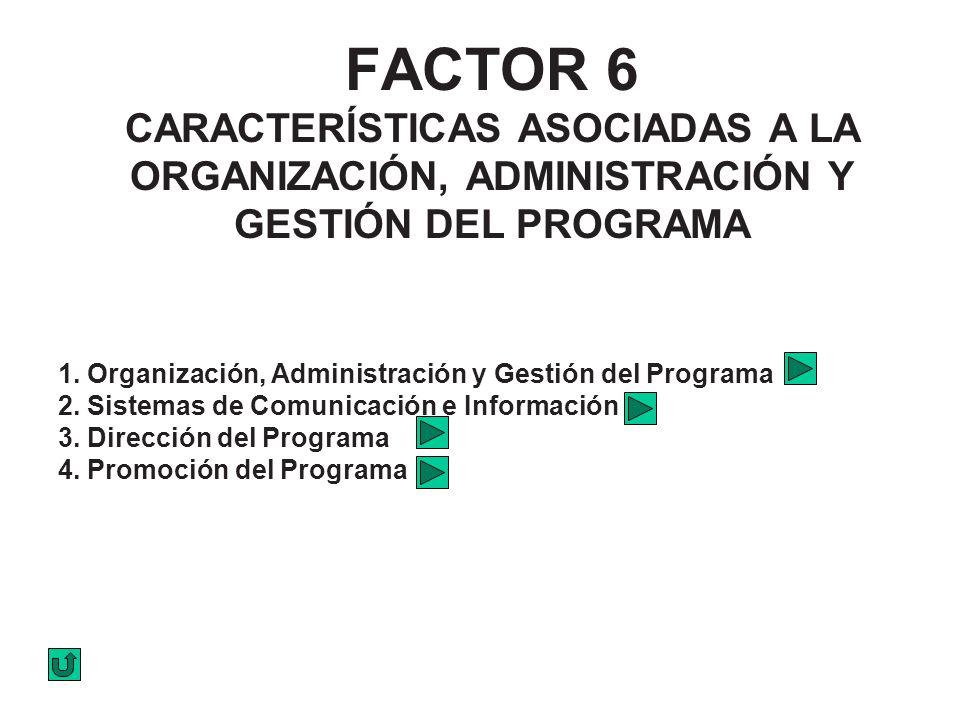 FACTOR 6 CARACTERÍSTICAS ASOCIADAS A LA ORGANIZACIÓN, ADMINISTRACIÓN Y GESTIÓN DEL PROGRAMA