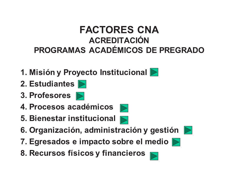 FACTORES CNA ACREDITACIÓN PROGRAMAS ACADÉMICOS DE PREGRADO