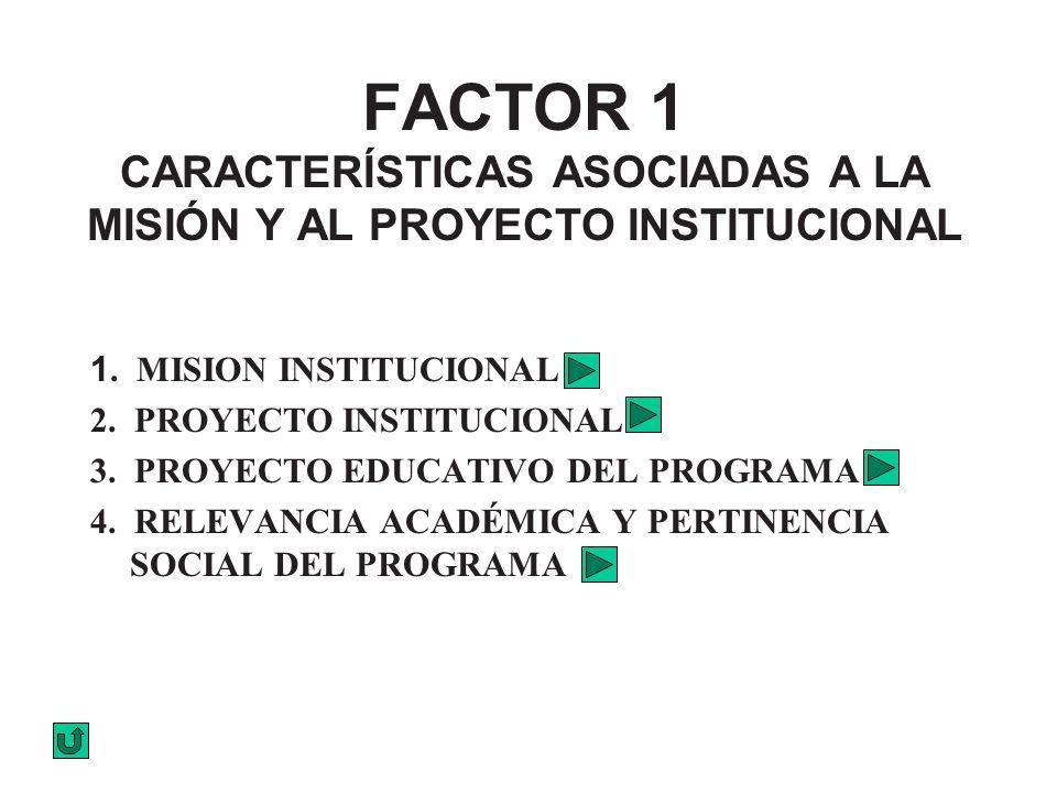 FACTOR 1 CARACTERÍSTICAS ASOCIADAS A LA MISIÓN Y AL PROYECTO INSTITUCIONAL