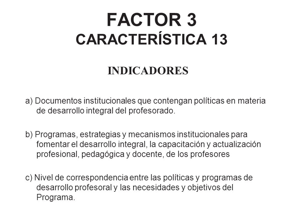 FACTOR 3 CARACTERÍSTICA 13