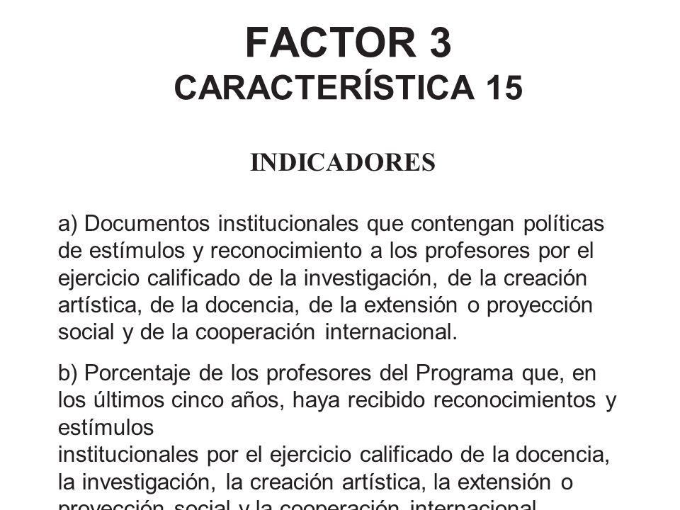 FACTOR 3 CARACTERÍSTICA 15
