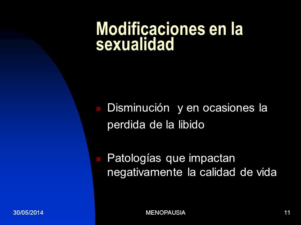 Modificaciones en la sexualidad