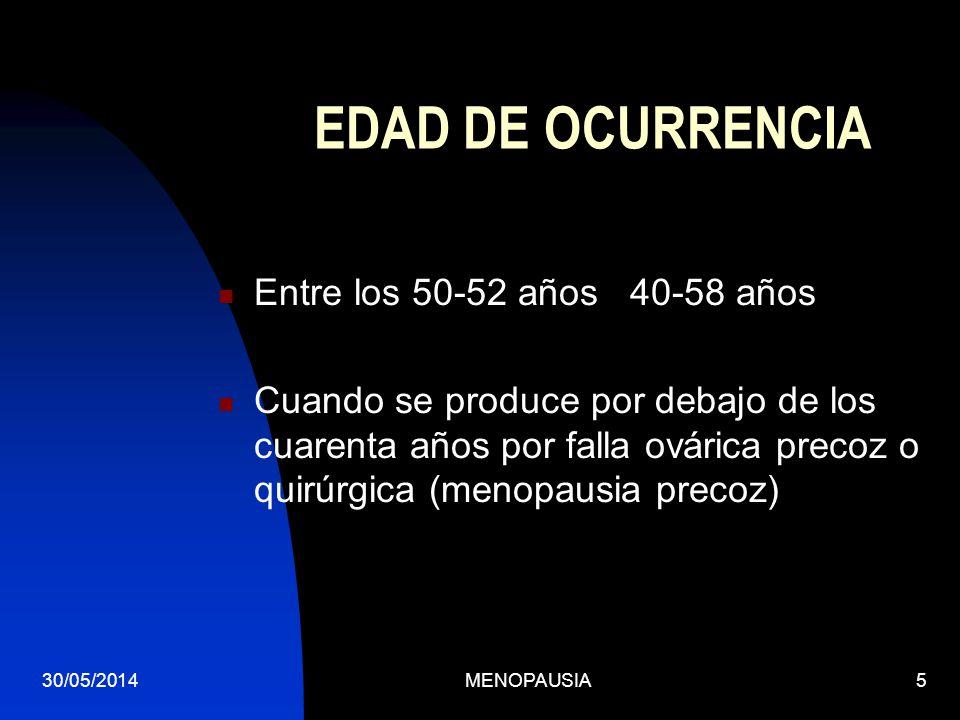 EDAD DE OCURRENCIA Entre los 50-52 años 40-58 años