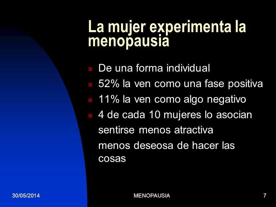 La mujer experimenta la menopausia