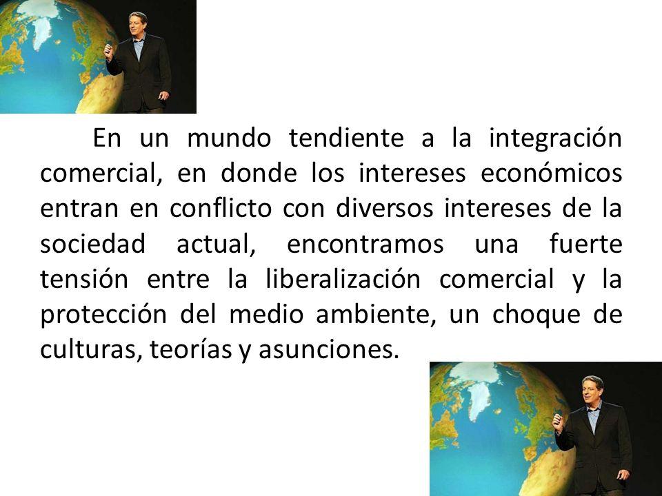 En un mundo tendiente a la integración comercial, en donde los intereses económicos entran en conflicto con diversos intereses de la sociedad actual, encontramos una fuerte tensión entre la liberalización comercial y la protección del medio ambiente, un choque de culturas, teorías y asunciones.