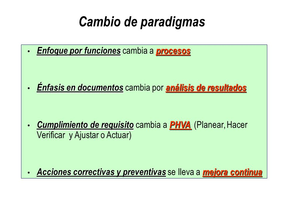 Cambio de paradigmas Enfoque por funciones cambia a procesos