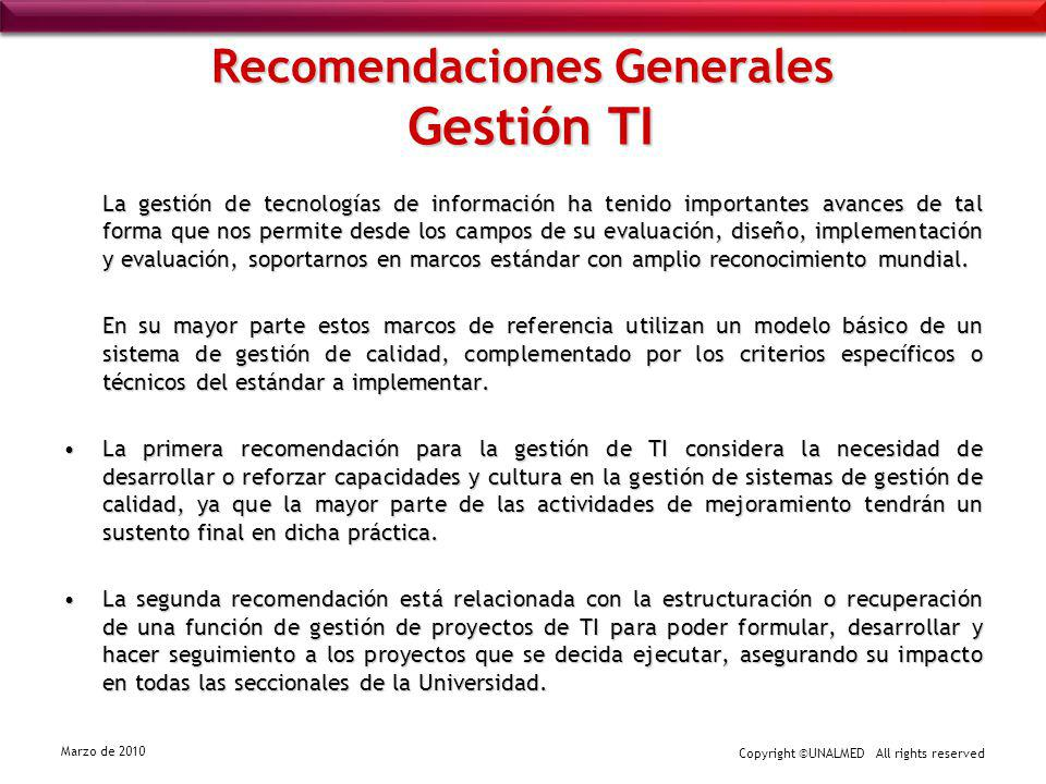 Recomendaciones Generales Gestión TI