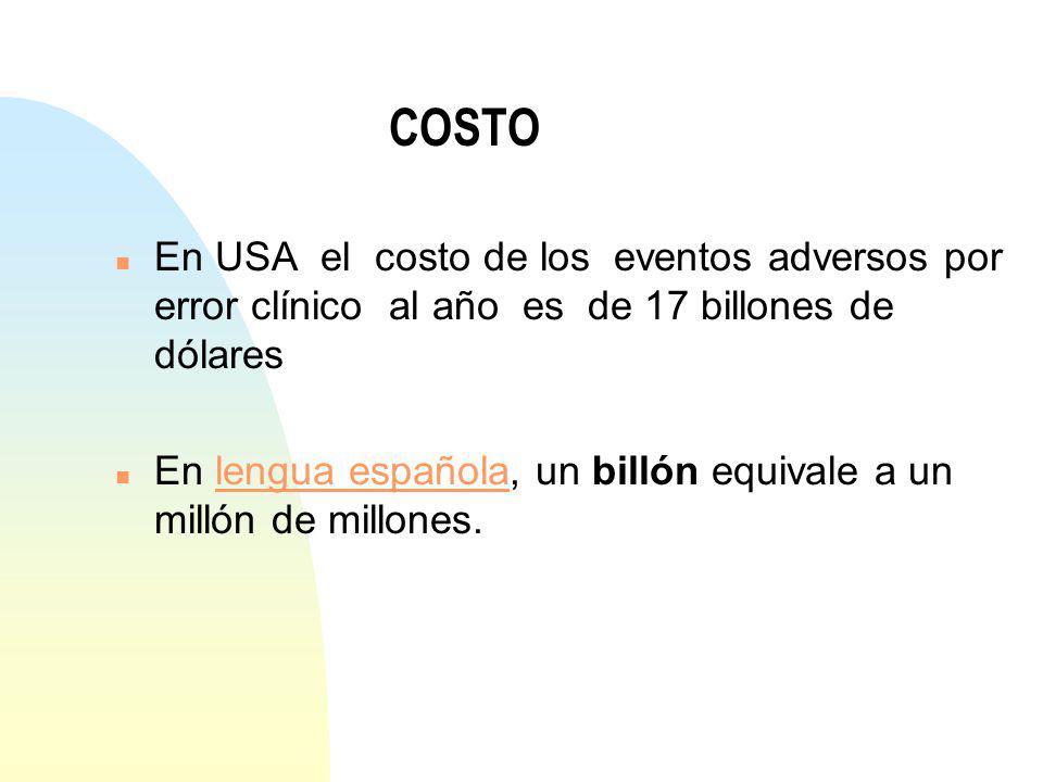 COSTO En USA el costo de los eventos adversos por error clínico al año es de 17 billones de dólares.