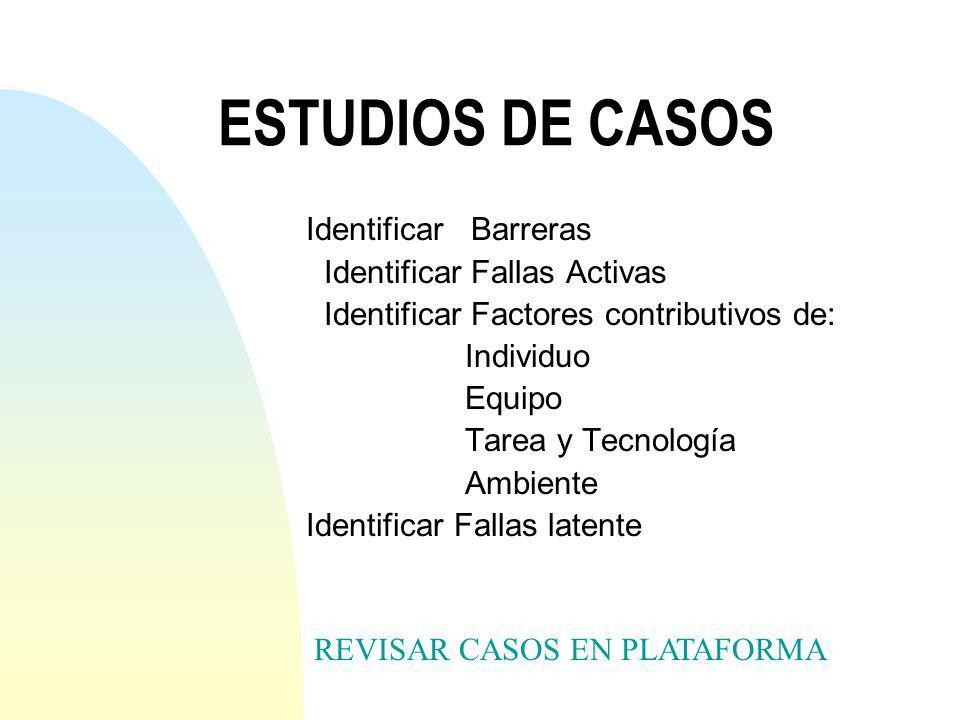 ESTUDIOS DE CASOS Identificar Barreras Identificar Fallas Activas
