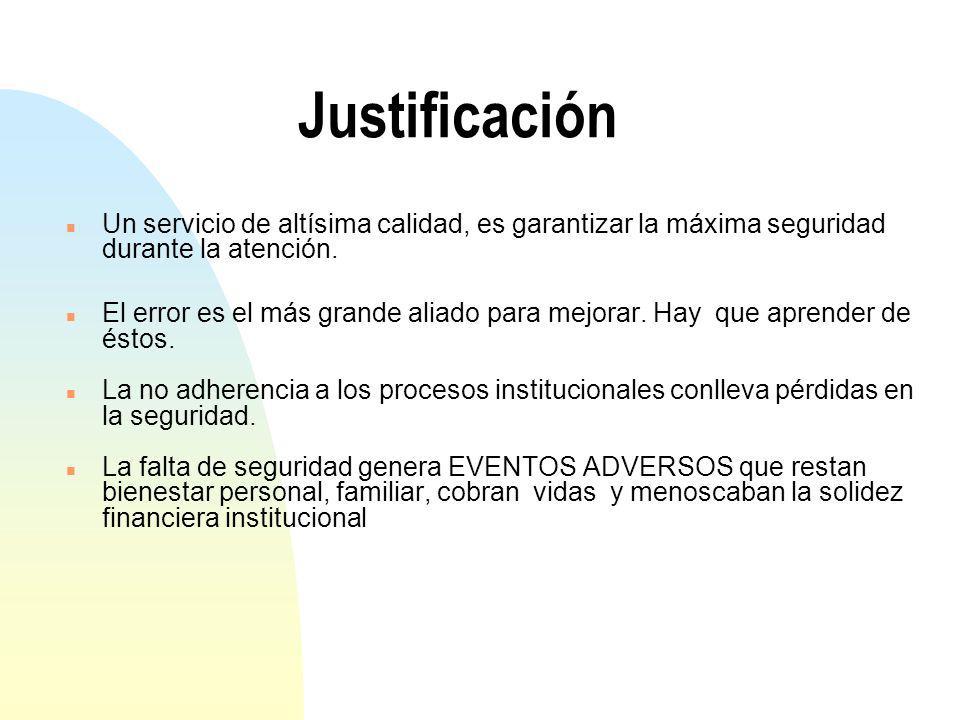 Justificación Un servicio de altísima calidad, es garantizar la máxima seguridad durante la atención.