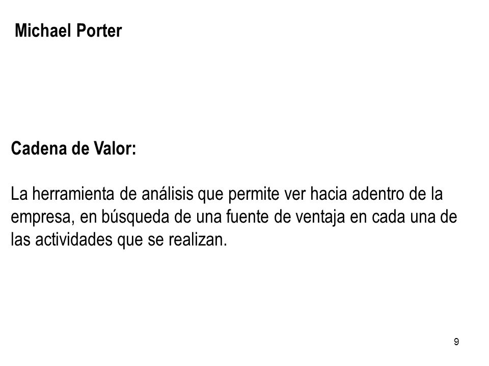 Michael Porter Cadena de Valor: