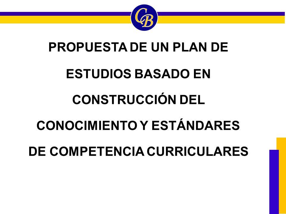 PROPUESTA DE UN PLAN DE ESTUDIOS BASADO EN CONSTRUCCIÓN DEL CONOCIMIENTO Y ESTÁNDARES DE COMPETENCIA CURRICULARES