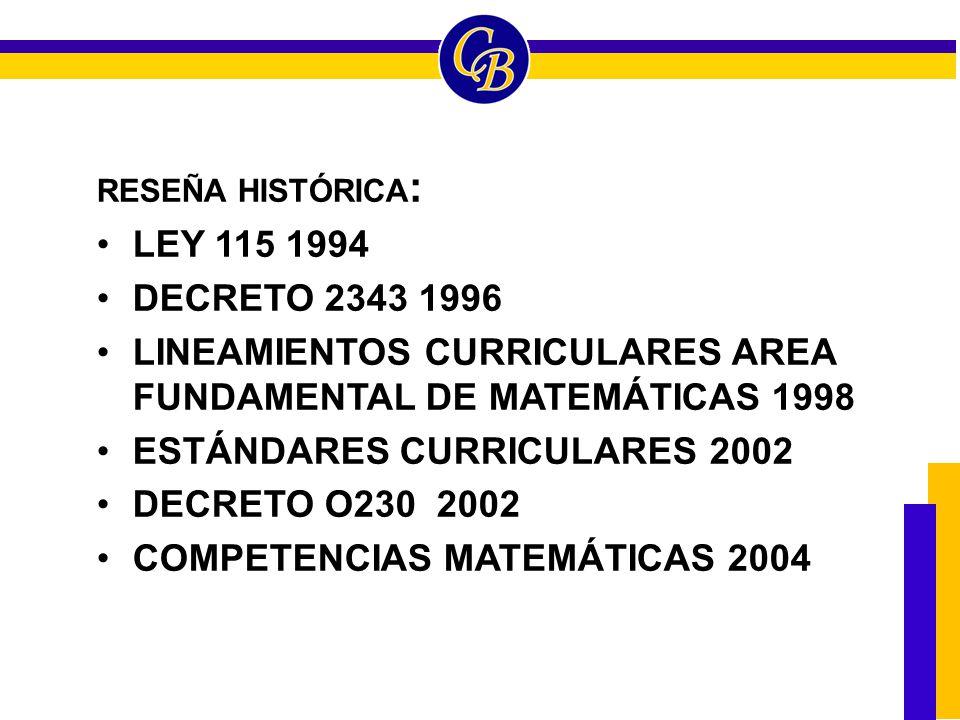 LINEAMIENTOS CURRICULARES AREA FUNDAMENTAL DE MATEMÁTICAS 1998