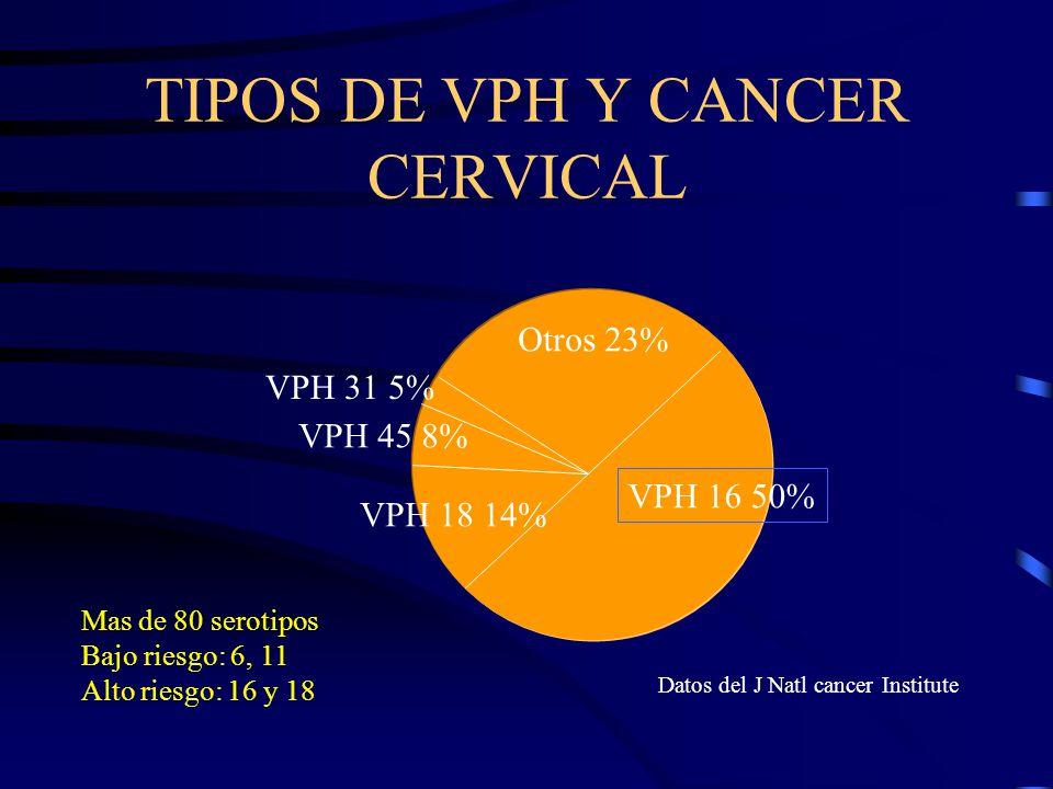 TIPOS DE VPH Y CANCER CERVICAL