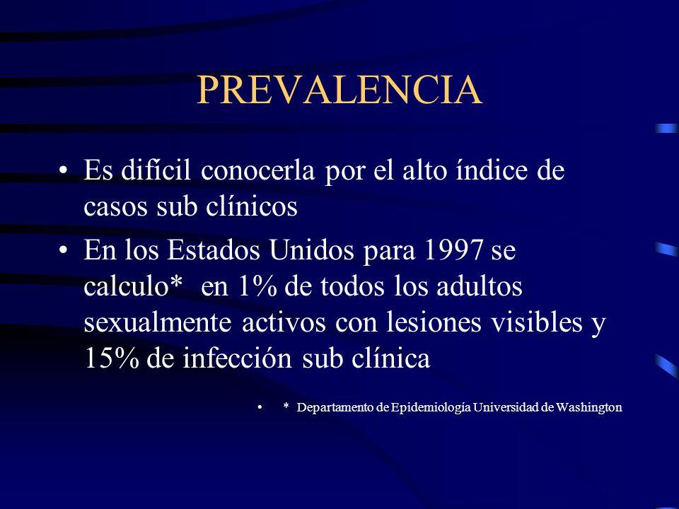 PREVALENCIA Es difícil conocerla por el alto índice de casos sub clínicos.