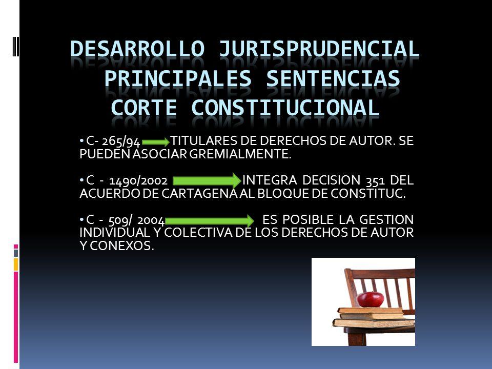 DESARROLLO JURISPRUDENCIAL PRINCIPALES SENTENCIAS corte constitucional