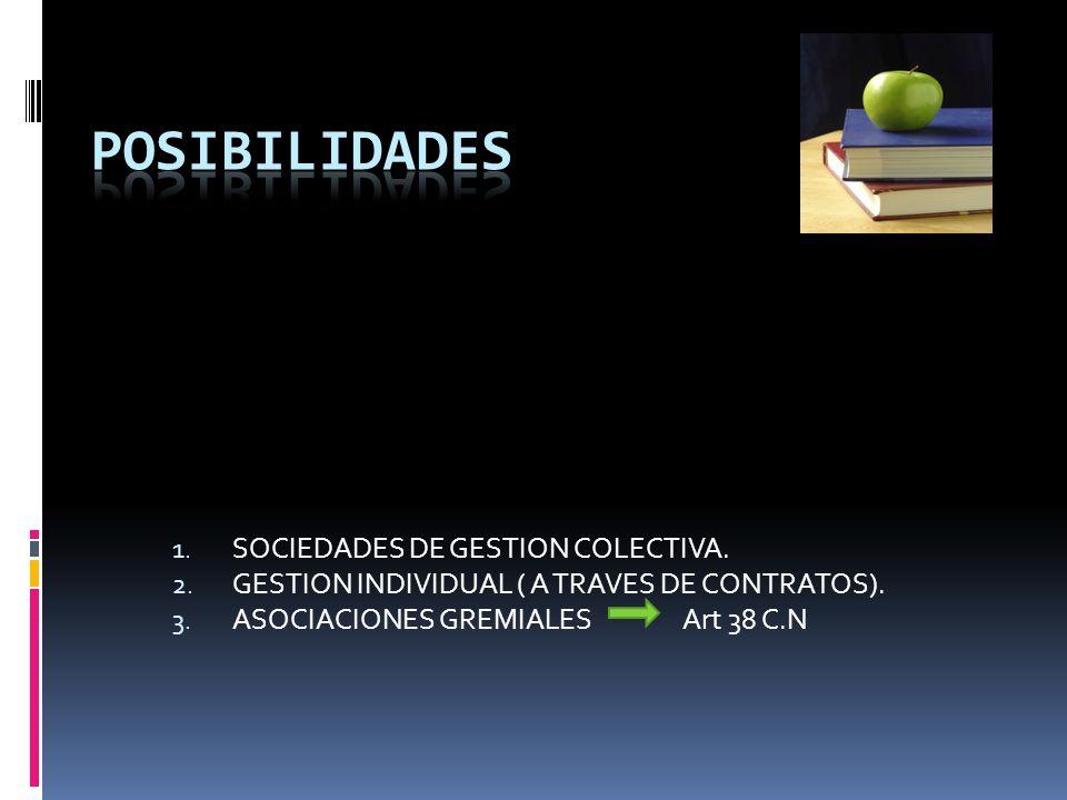 POSIBILIDADES SOCIEDADES DE GESTION COLECTIVA.