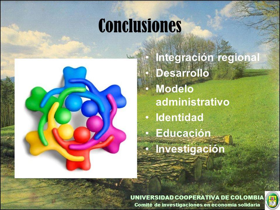 Conclusiones Integración regional Desarrollo Modelo administrativo