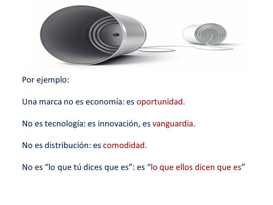 Por ejemplo: Una marca no es economía: es oportunidad. No es tecnología: es innovación, es vanguardia.