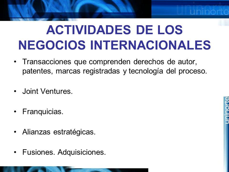 ACTIVIDADES DE LOS NEGOCIOS INTERNACIONALES
